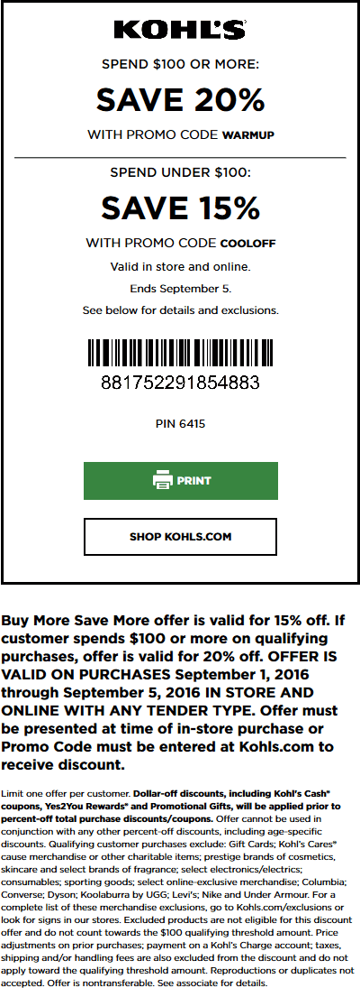 kohls coupon code 20 off