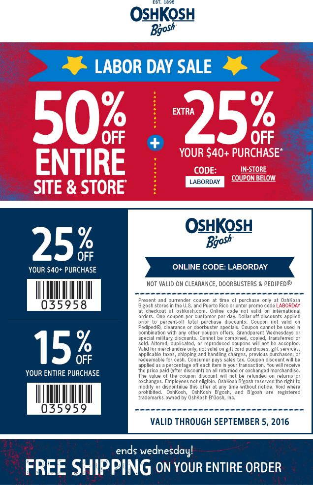 photo regarding Osh Coupons Printable named Osh kosh code : September 2018 Savings
