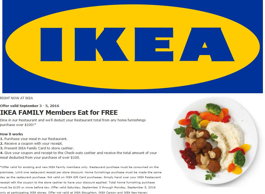 Ikea Coupons Ikea Family Members Eat For Free This Weekend