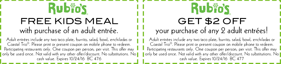 Rubios Coupon February 2020 Free kids meal & more at Rubios