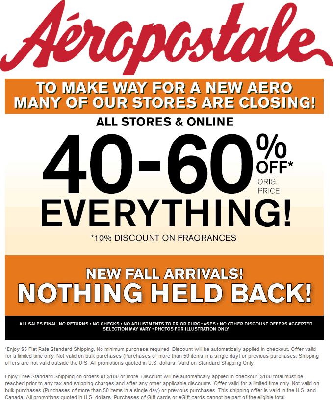 Browse for Aeropostale coupons valid through December below. Find the latest Aeropostale coupon codes, online promotional codes, and the overall best coupons posted by our team of experts to save you 50% off at Aeropostale.