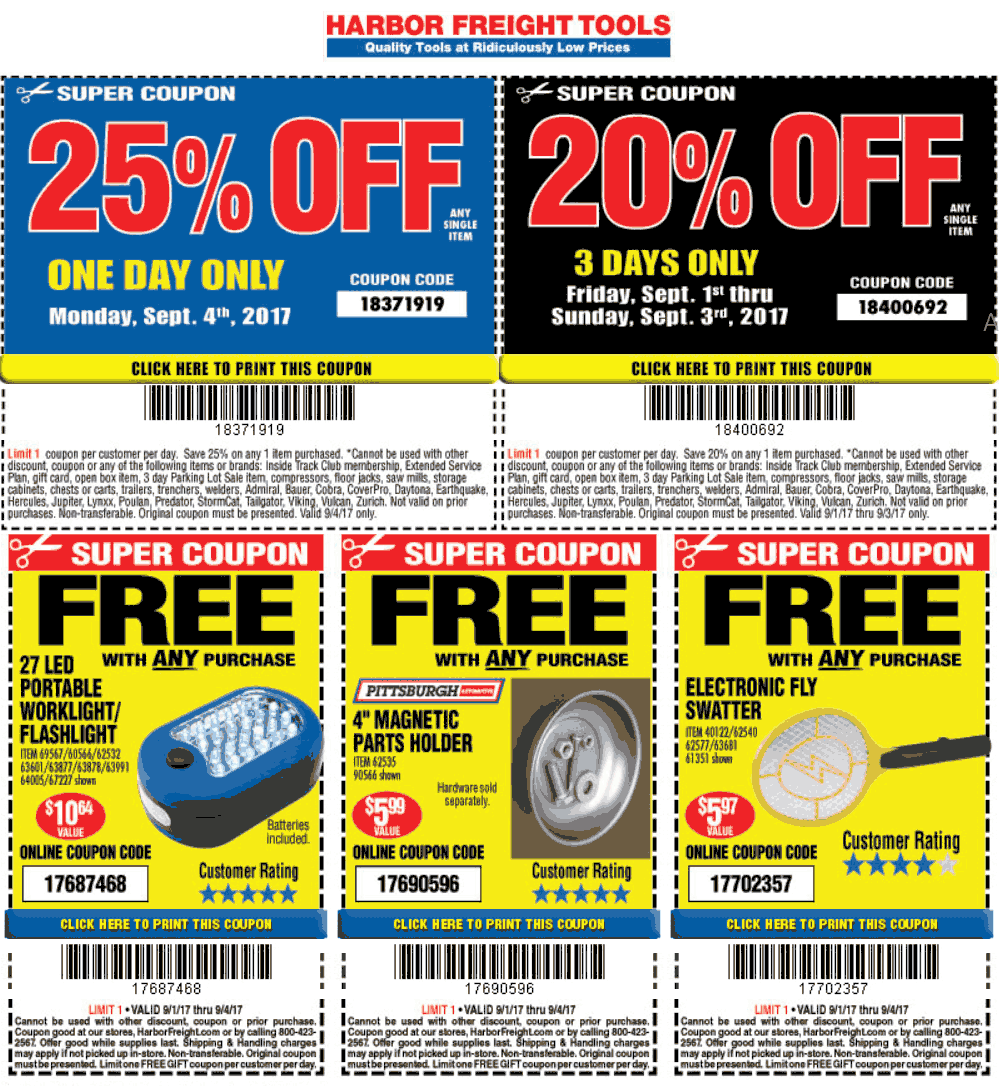 Harbor Freight Tools Coupons Free 10 Worklight 25 Off More At