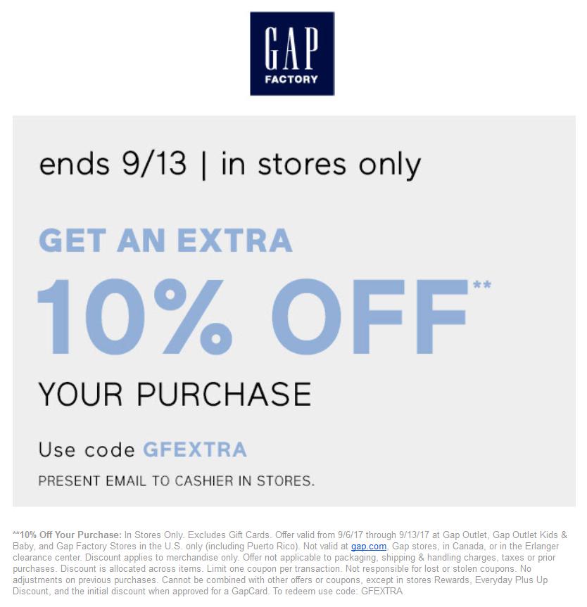 gap factory free shipping code