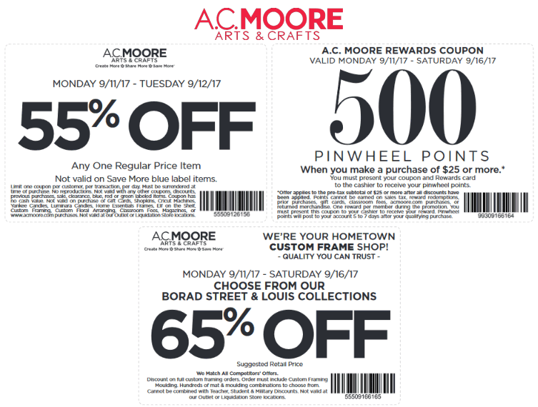 A C  Moore Coupons - 55% off a single item today at A C  Moore