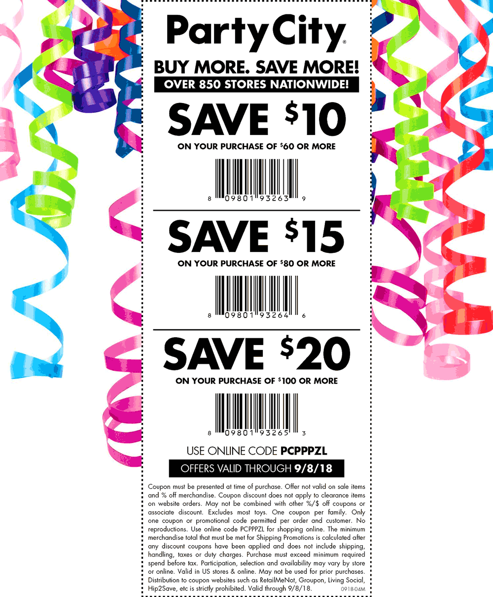Party City Coupon May 2020 $10 off $60 & more at Party City, or online via promo code PCPPPZL