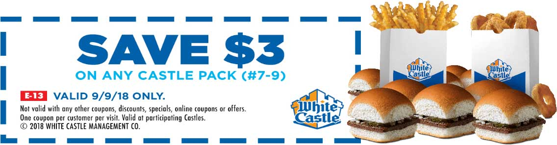 White Castle Coupon June 2020 $3 off a slider castle pack Sunday at White Castle restaurants