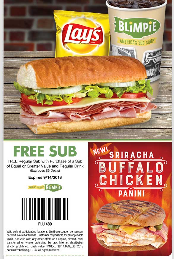 Blimpie Coupon May 2020 Second sub sandwich free at Blimpie