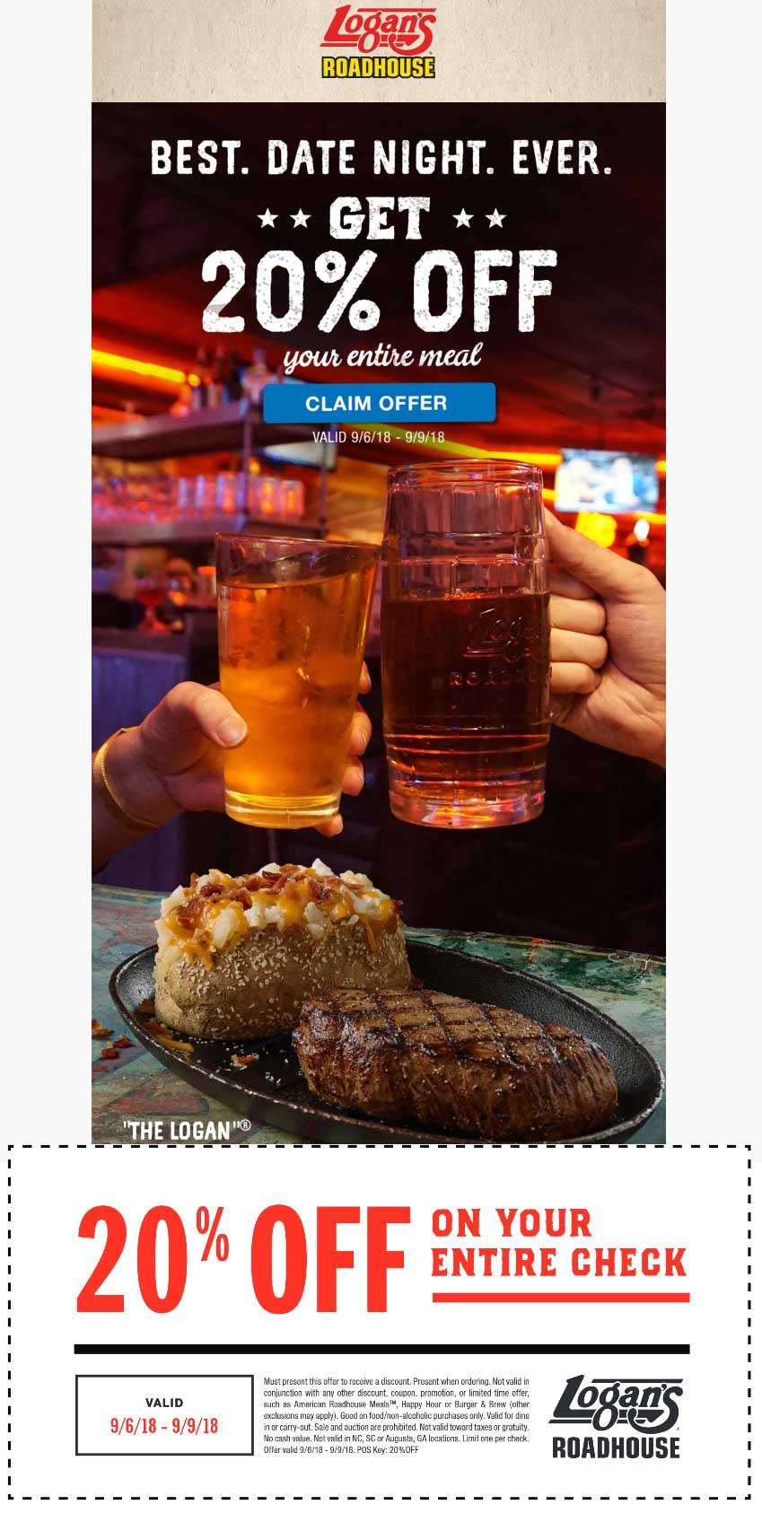 Logans Roadhouse Coupon June 2020 20% off at Logans Roadhouse restaurants