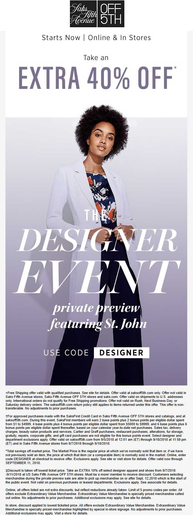 OFF 5TH Coupon June 2020 Extra 40% off at Saks Fifth Avenue OFF 5TH, or online via promo code DESIGNER