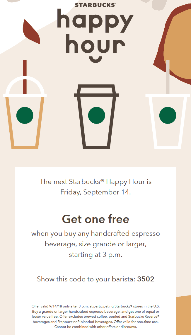 Starbucks Coupon June 2020 Second espresso free Friday at Starbucks