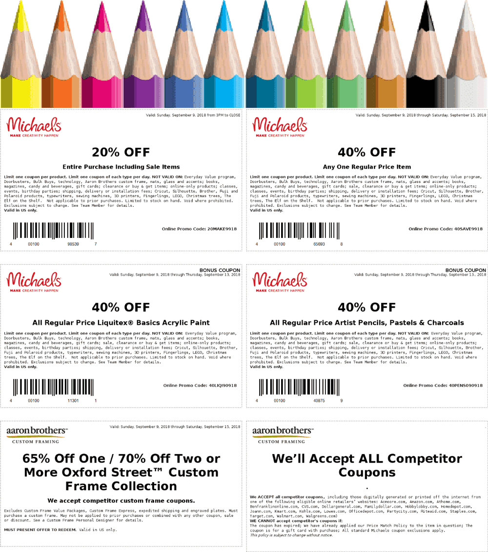 Michaels Coupon June 2020 40% off a single item at Michaels, or online via promo code 40SAVE9918