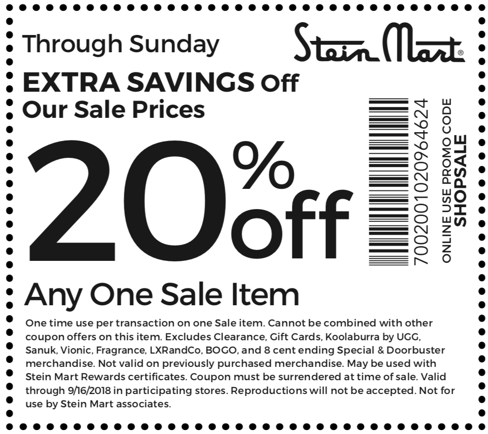 Stein Mart Coupon May 2020 20% off a single sale item at Stein Mart, or online via promo code SHOPSALE
