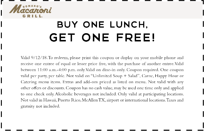 Macaroni Grill Coupon May 2020 Second lunch free today at Macaroni Grill