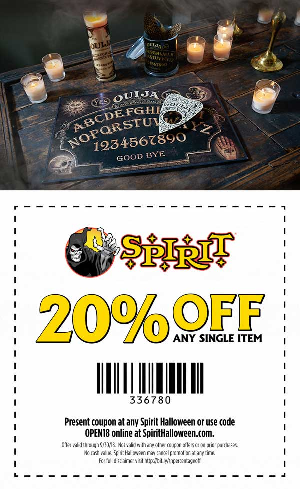 Spirit Halloween Coupon May 2020 20% off a single item at Spirit Halloween, or online via promo code HALL20E