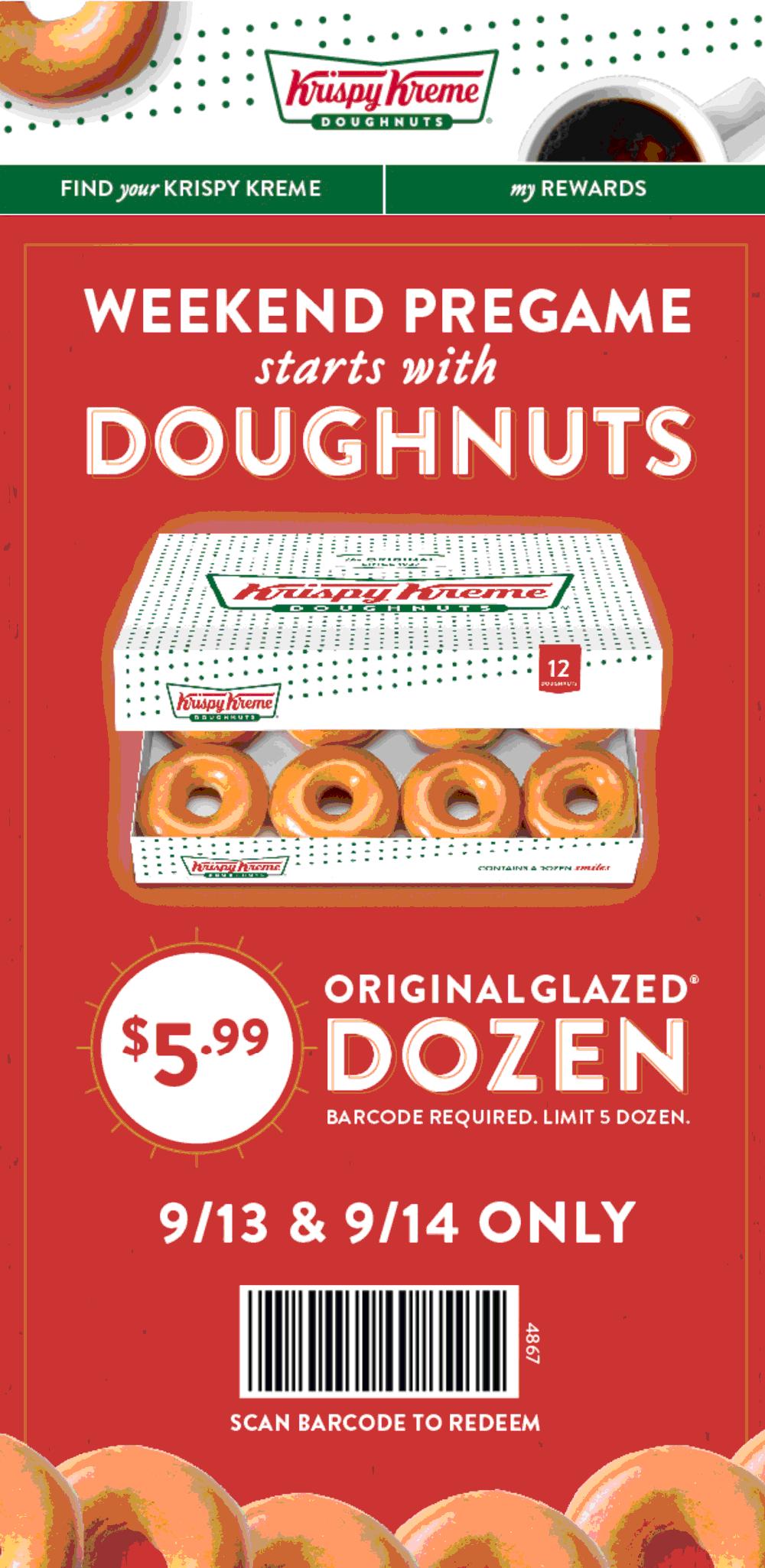 Krispy Kreme Coupon June 2020 $6 dozen at Krispy Kreme doughnuts