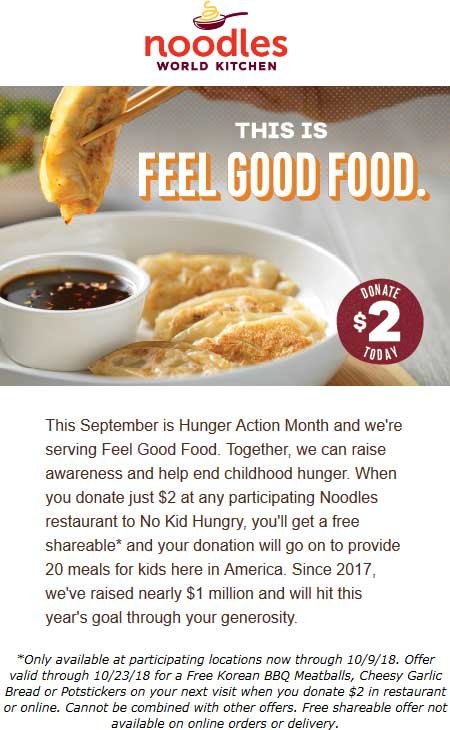 Noodles World Kitchen Coupon June 2020 Donate $2 for a free shareable at Noodles World Kitchen restaurants