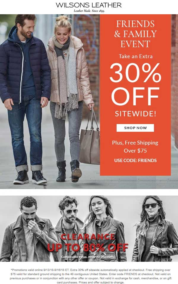 Wilsons Leather Coupon February 2020 Extra 30% off online at Wilsons Leather via promo code FRIENDS