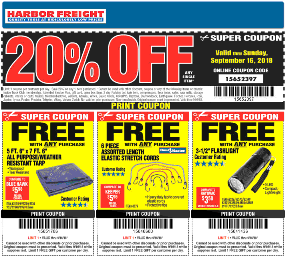 Harbor Freight Coupon May 2020 Free stuff + 20% off a single item at Harbor Freight Tools, or online via promo code 15652397