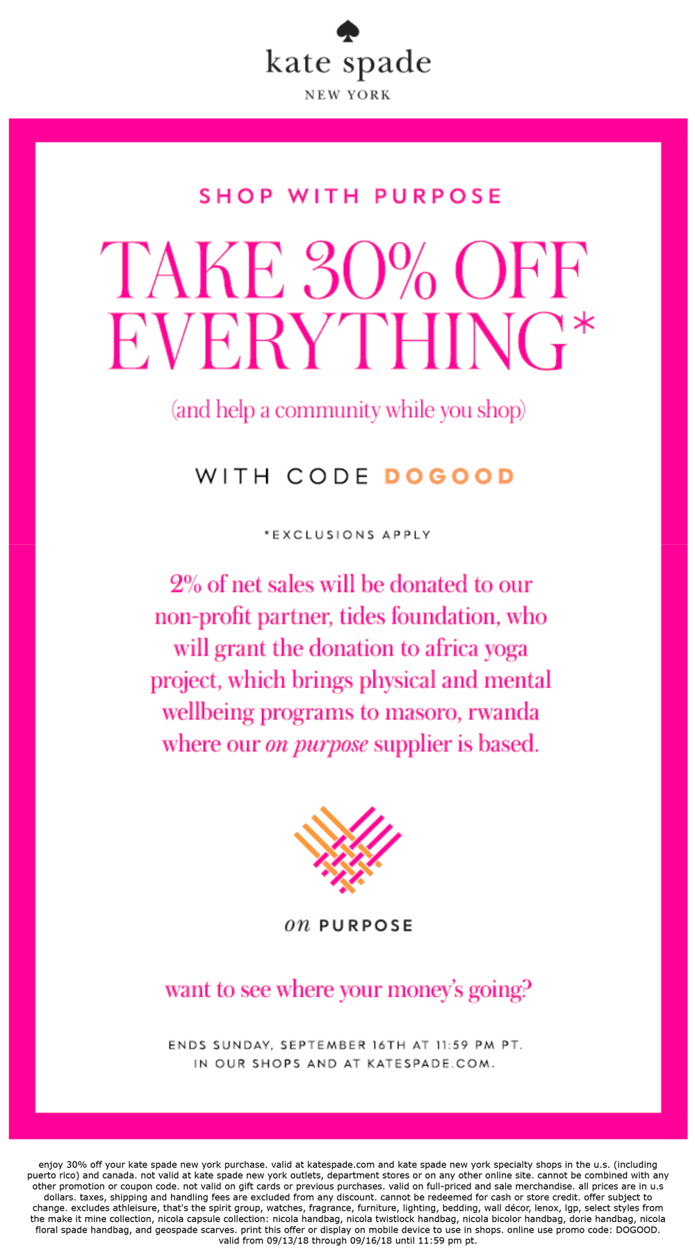 Kate Spade Coupon May 2020 30% off everything at Kate Spade, or online via promo code DOGOOD