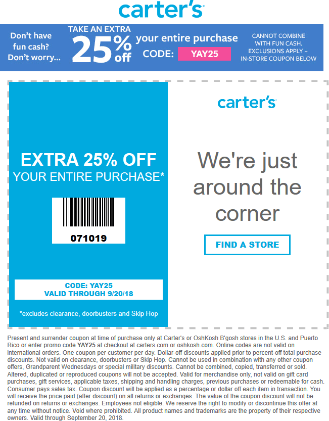 Carters Coupons 25 Off Everything At Carters Or Online Via Promo