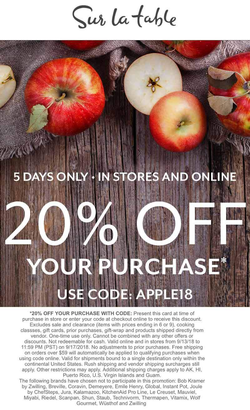 Sur La Table Coupon May 2020 20% off at Sur La Table, or online via promo code APPLE18