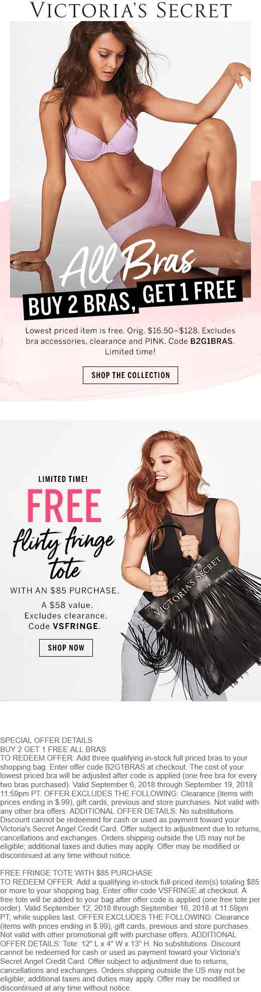 Victorias Secret Coupon May 2020 Free fringe tote with $85 spent today at Victorias Secret, or online via promo code VSFRINGE
