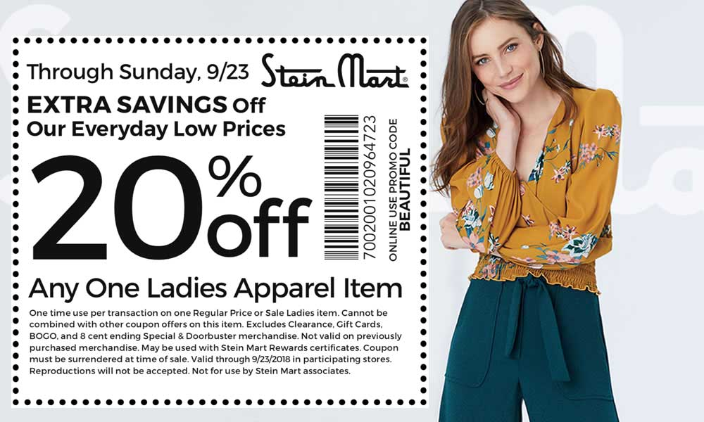 Stein Mart Coupon June 2020 20% off a single ladies apparel at Stein Mart, or online via promo code BEAUTIFUL