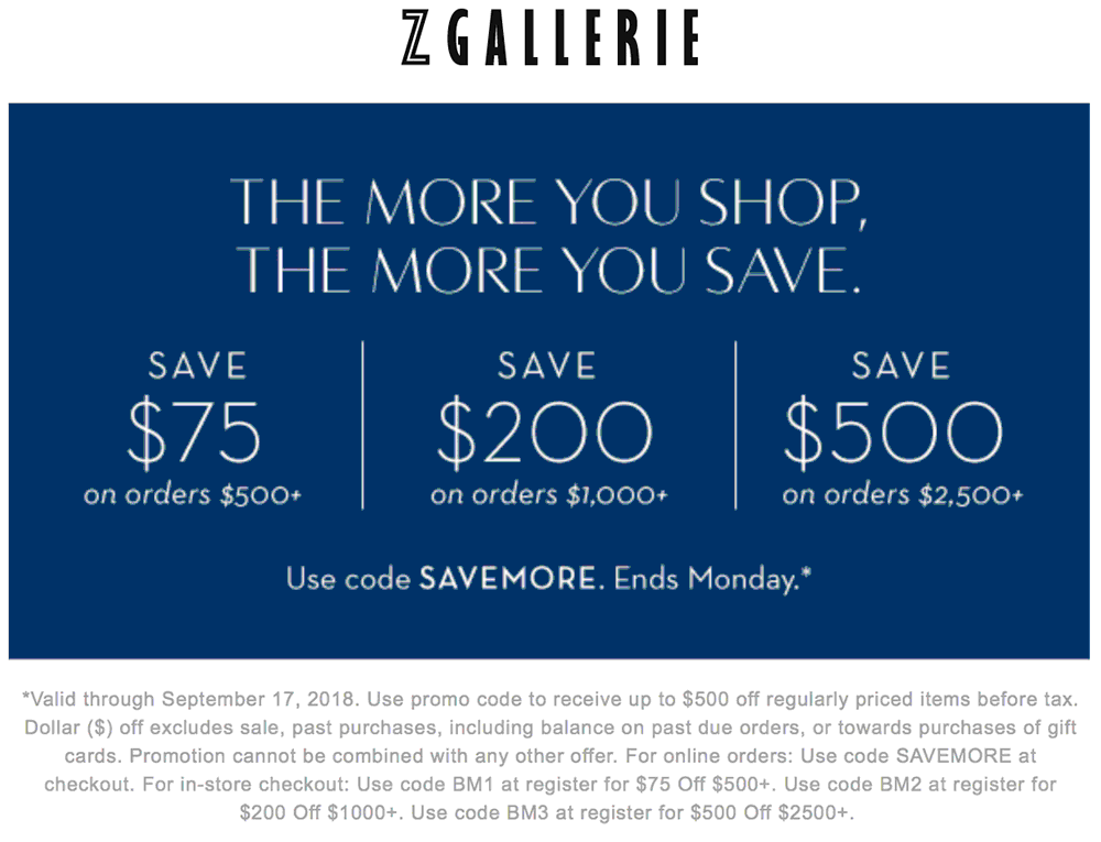 Z Gallerie Coupon June 2020 $75 off $500 & more today at Z Gallerie, or online via promo code SAVEMORE