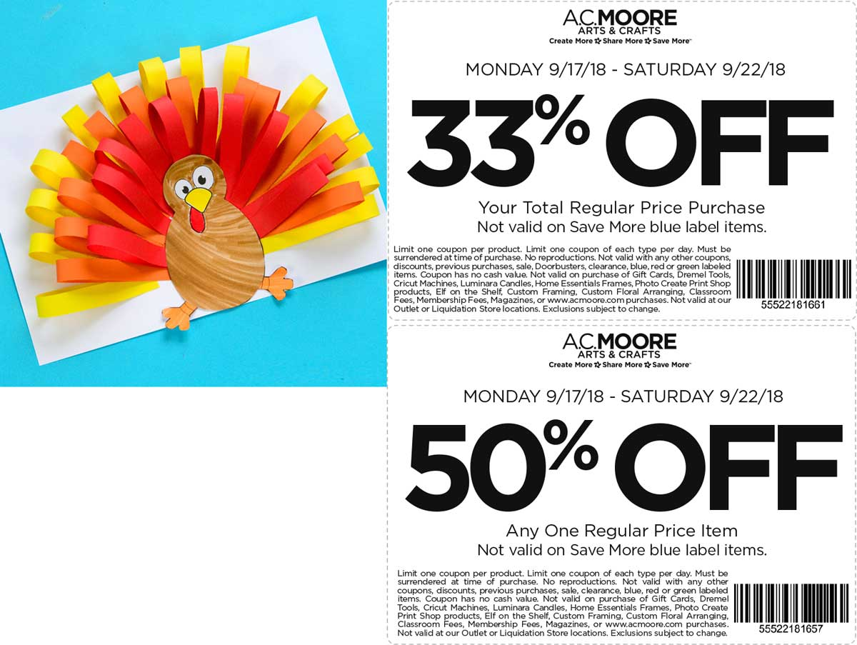 A.C. Moore Coupon May 2020 33-50% off at A.C. Moore crafts