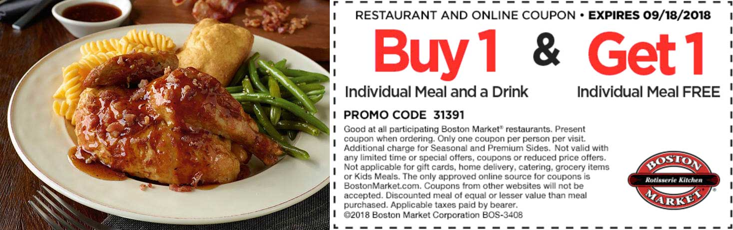 Boston Market Coupon June 2020 Second meal free today at Boston Market