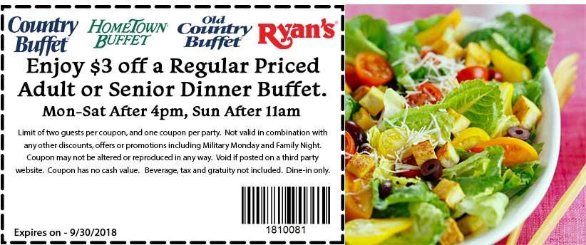 Hometown Buffet Coupon June 2020 $3 off dinner at Ryans, HomeTown Buffet & Old Country Buffet