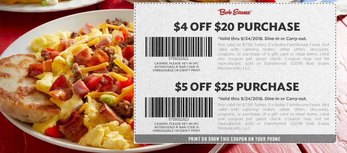 Bob Evans Coupon May 2020 $4 off $20 & more at Bob Evans restaurants