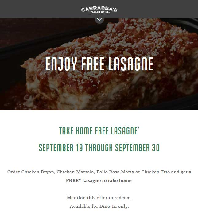 Carrabbas Coupon May 2020 Free take home lasagna with your chicken at Carrabbas restaurants