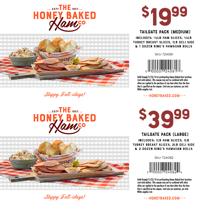 HoneyBaked Coupon May 2020 $20 tailgate meal at Honeybaked Hame restaurants