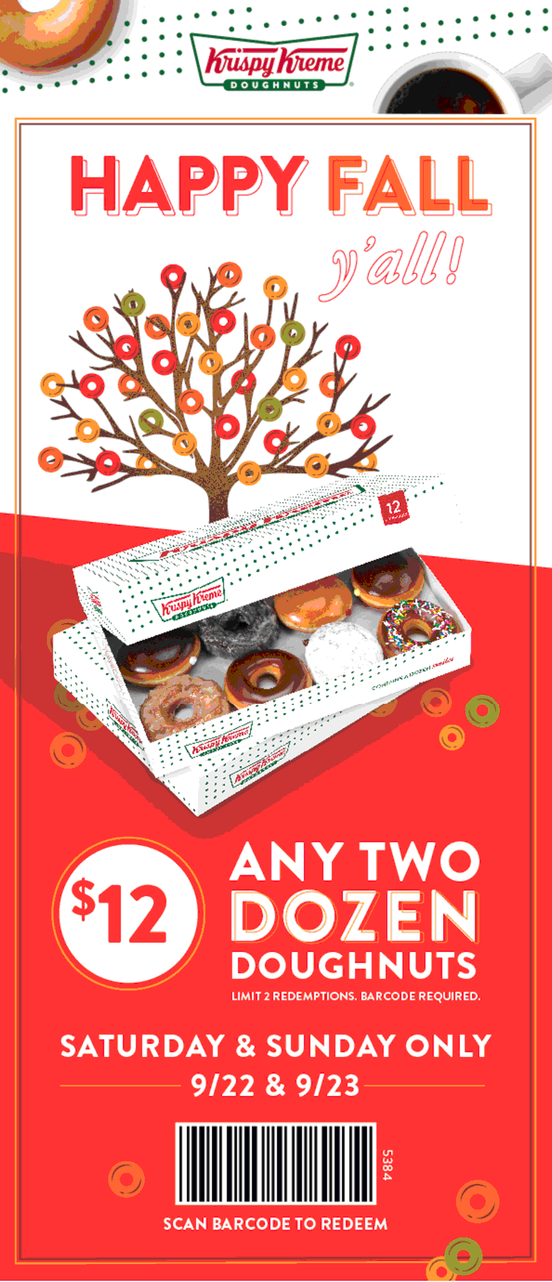 Krispy Kreme Coupon May 2020 2 dozen doughnuts for $12 at Krispy Kreme