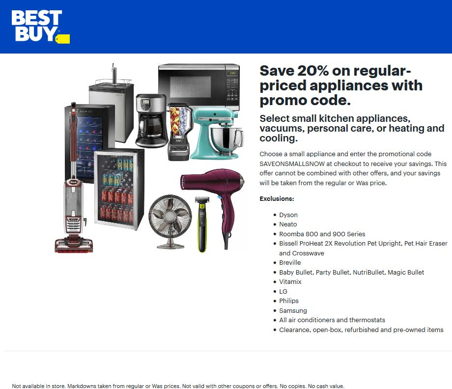 Best Buy Coupon May 2020 20% off regular-priced appliances online at Best Buy via promo code SAVEONSMALLSNOW