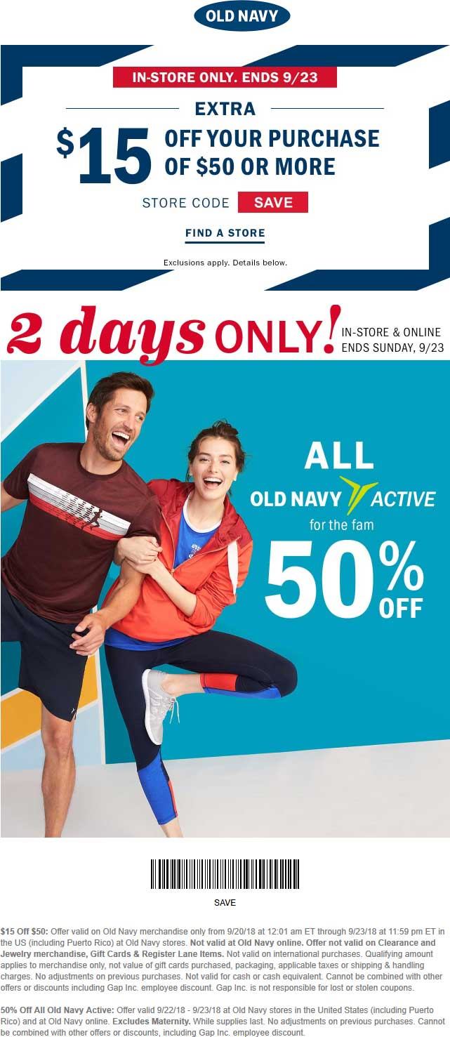 Old Navy Coupon June 2020 $15 off $50 at Old Navy