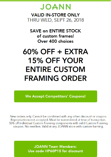 Joann Coupon May 2020 75% off custom framing at Joann
