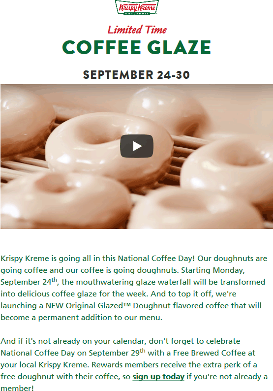 Krispy Kreme Coupon May 2020 Free donut & coffee Friday at Krispy Kreme