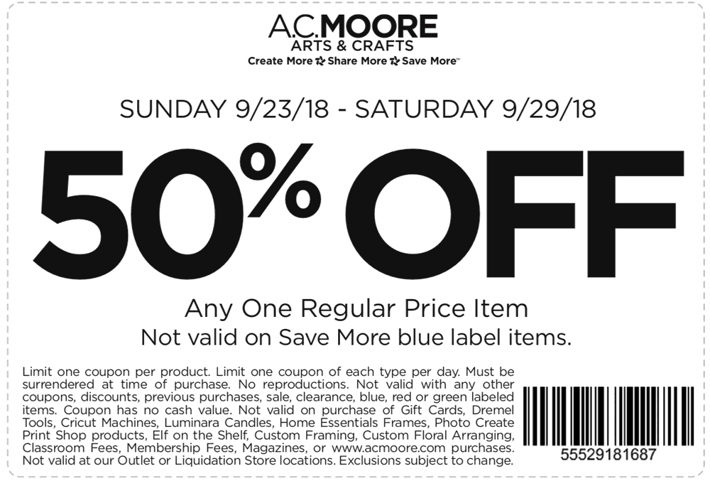 A.C. Moore Coupon February 2020 50% off a single item at A.C. Moore