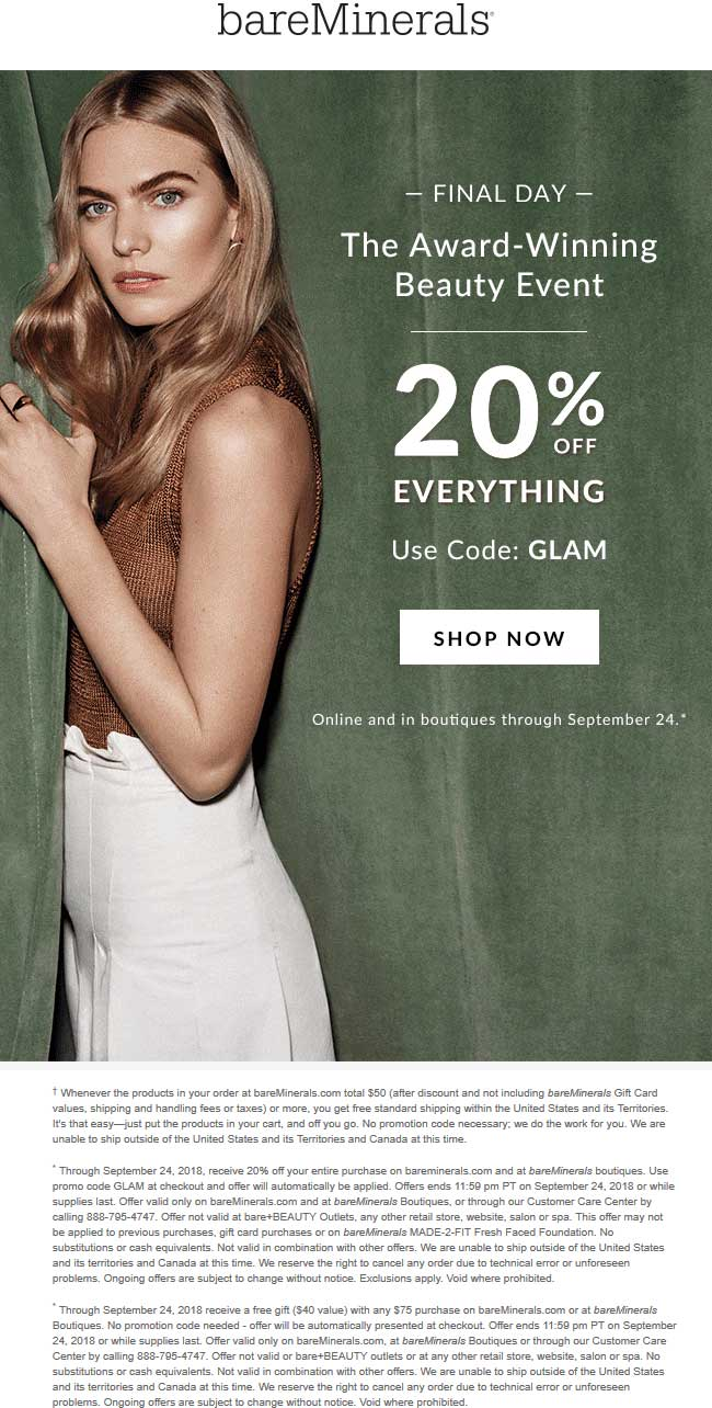 bareMinerals Coupon May 2020 20% off everything today at bareMinerals, or online via promo code GLAM