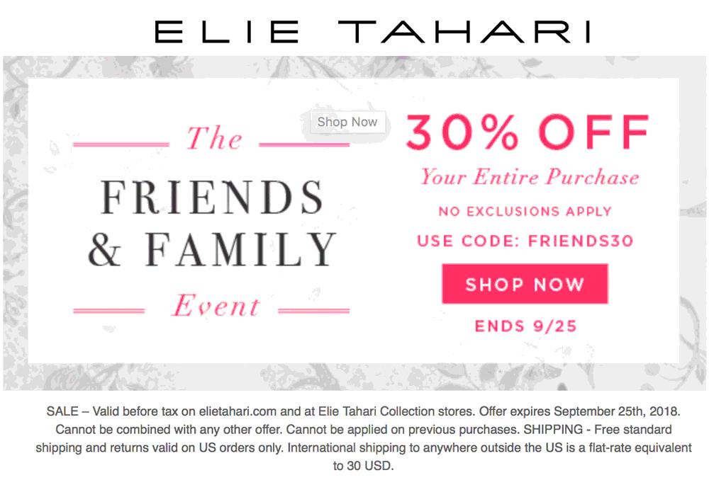 Elie Tahari Coupon May 2020 30% off everything at Elie Tahari, or online via promo code FRIENDS30