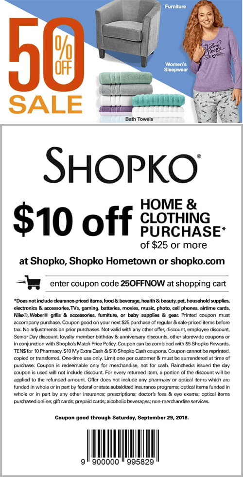 Shopko Coupon May 2020 $10 off $25 at Shopko, or online via promo code 25OFFNOW