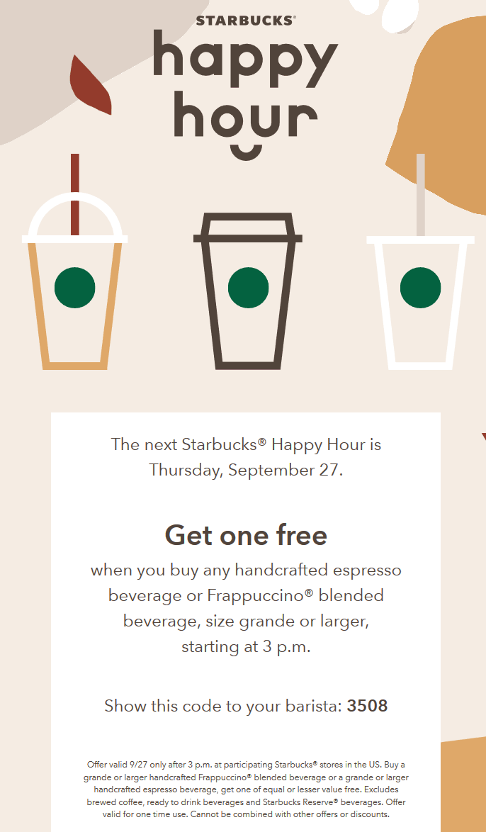 Starbucks Coupon May 2020 Second Frappucciono or espresso free Thursday at Starbucks