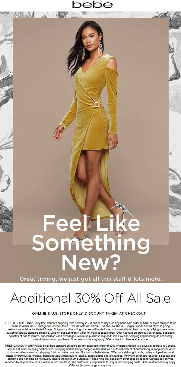 Bebe Coupon February 2020 Extra 30% off sale items at bebe, ditto online