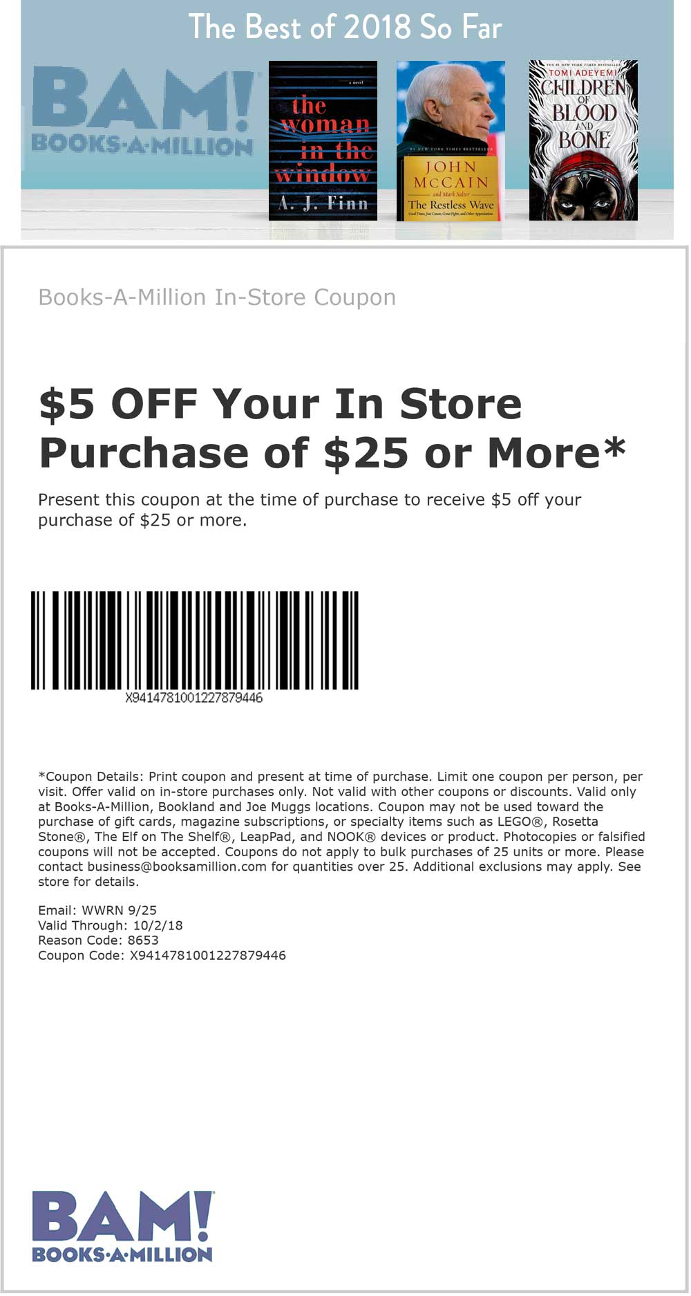 Books-A-Million Coupon August 2020 $5 off $25 at Books-A-Million