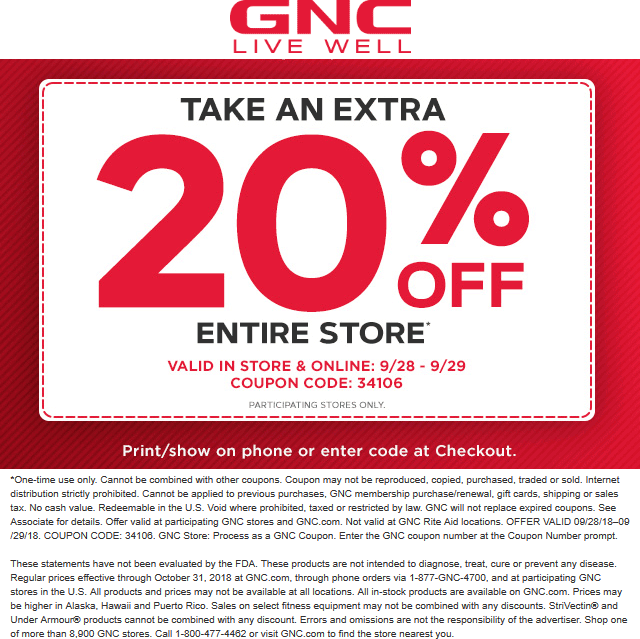 GNC Coupon February 2020 20% off everything at GNC, or online via promo code 34106