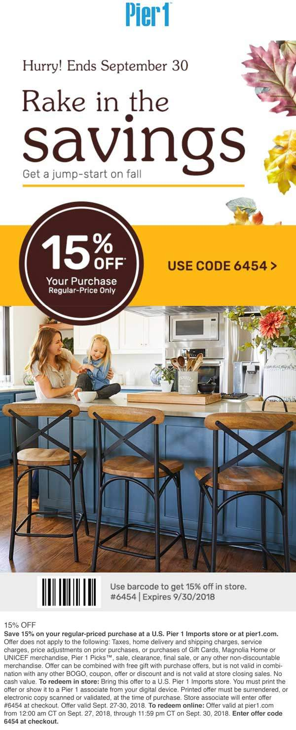 Pier 1 Coupon February 2020 15% off at Pier 1 Imports, or online via promo code 6454