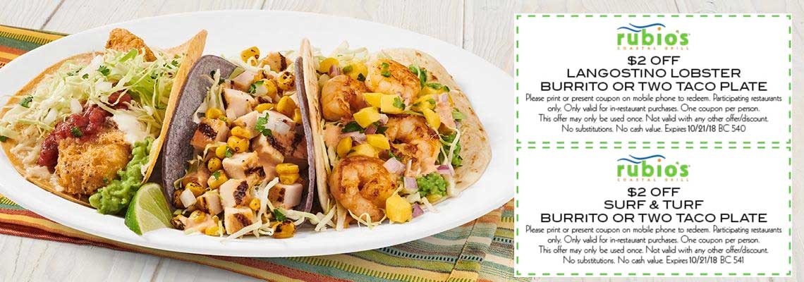Rubios Coupon July 2020 $2 off a taco plate at Rubios restaurant