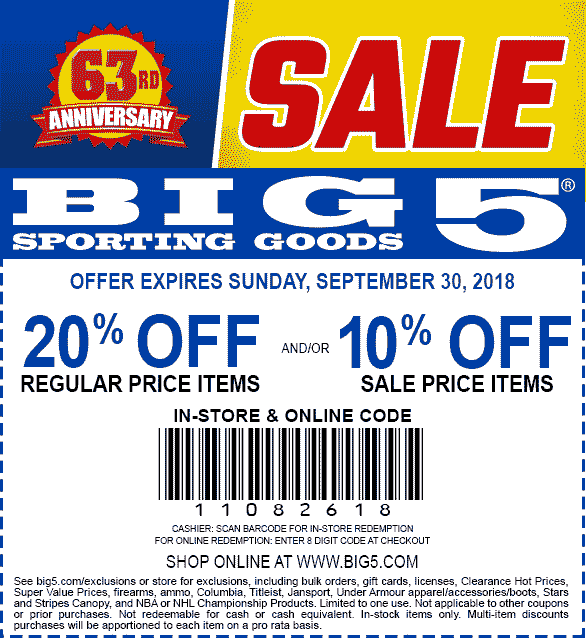 Big 5 Coupon February 2020 20% off at Big 5 sporting goods, or online via promo code 11082618